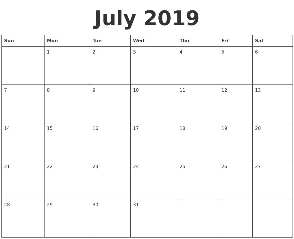 July 2019 Blank Calendar Template_Blank Calendar July 17