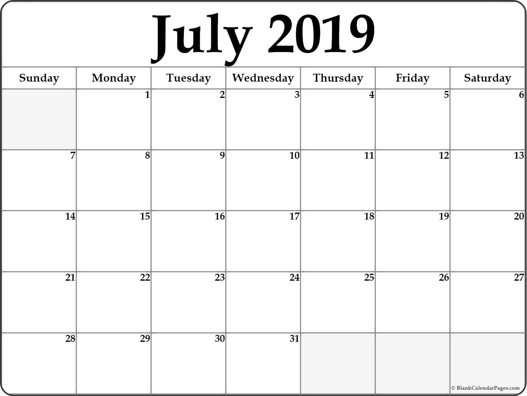 July 2019 Calendar | Free Printable Monthly Calendars_Blank Calendar July 17