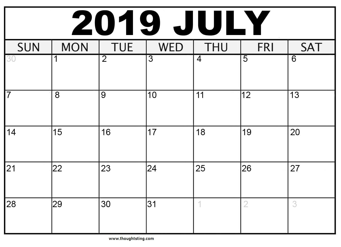 July 2019 Calendar Printable One Page Template - Free Printable_Calendar For Printing July 2019