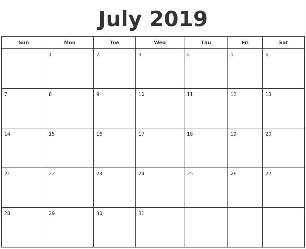 July 2019 Print A Calendar_Calendar For Printing July 2019