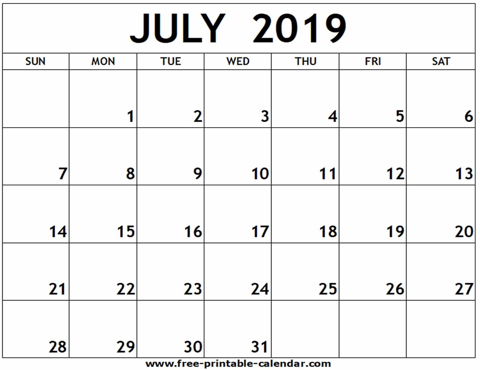 July 2019 Printable Calendar - Free-Printable-Calendar_Blank Calendar July 17