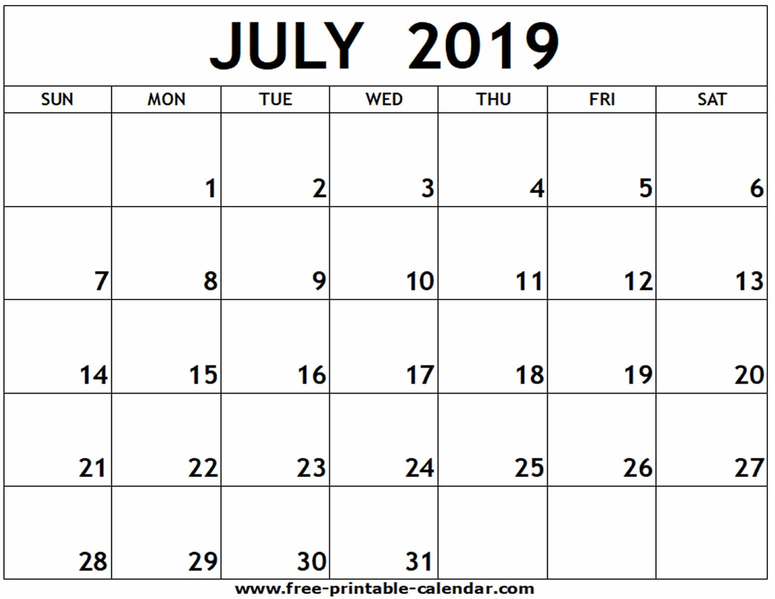 July 2019 Printable Calendar - Free-Printable-Calendar_Calendar For Printing July 2019