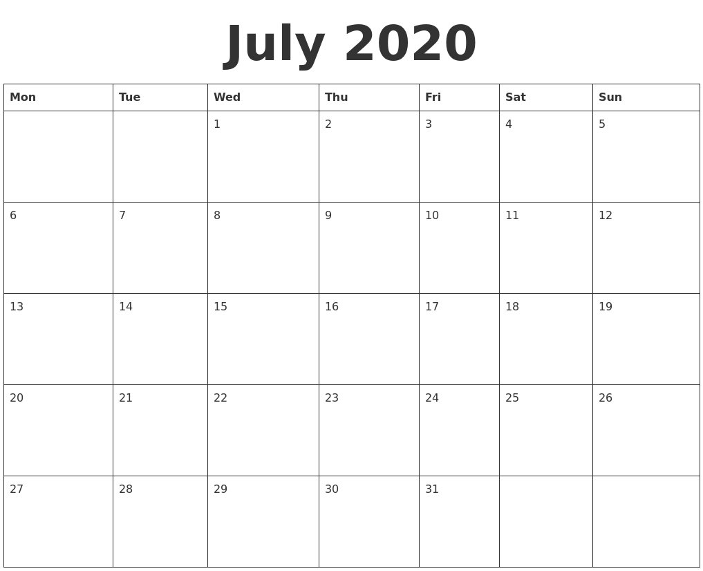 July 2020 Blank Calendar Template_Blank Calendar For July 2020