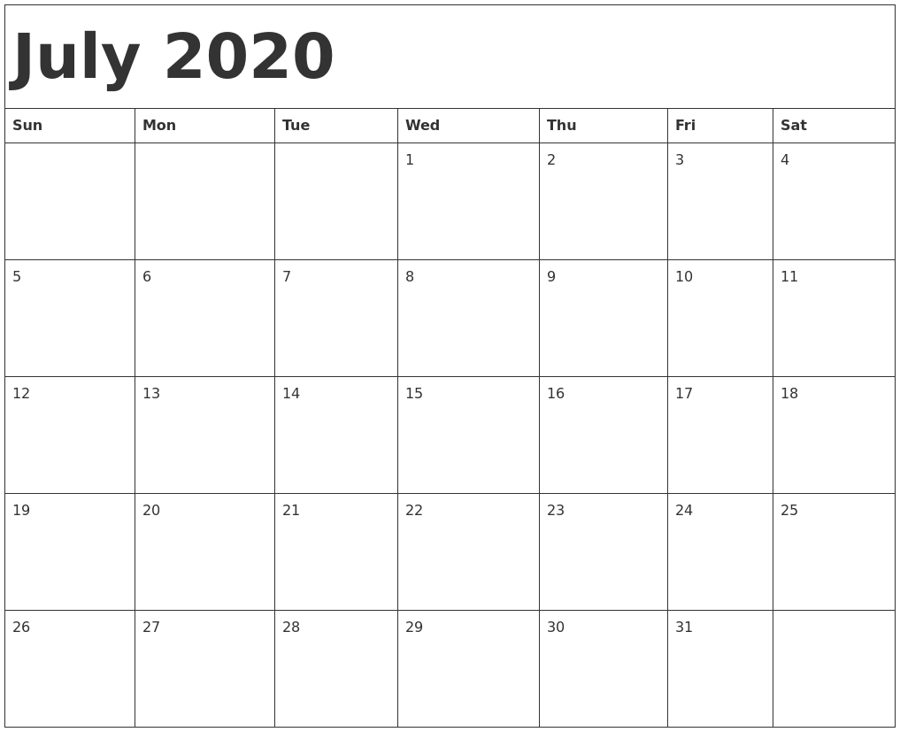 July 2020 Calendar Template_Blank Calendar For July 2020