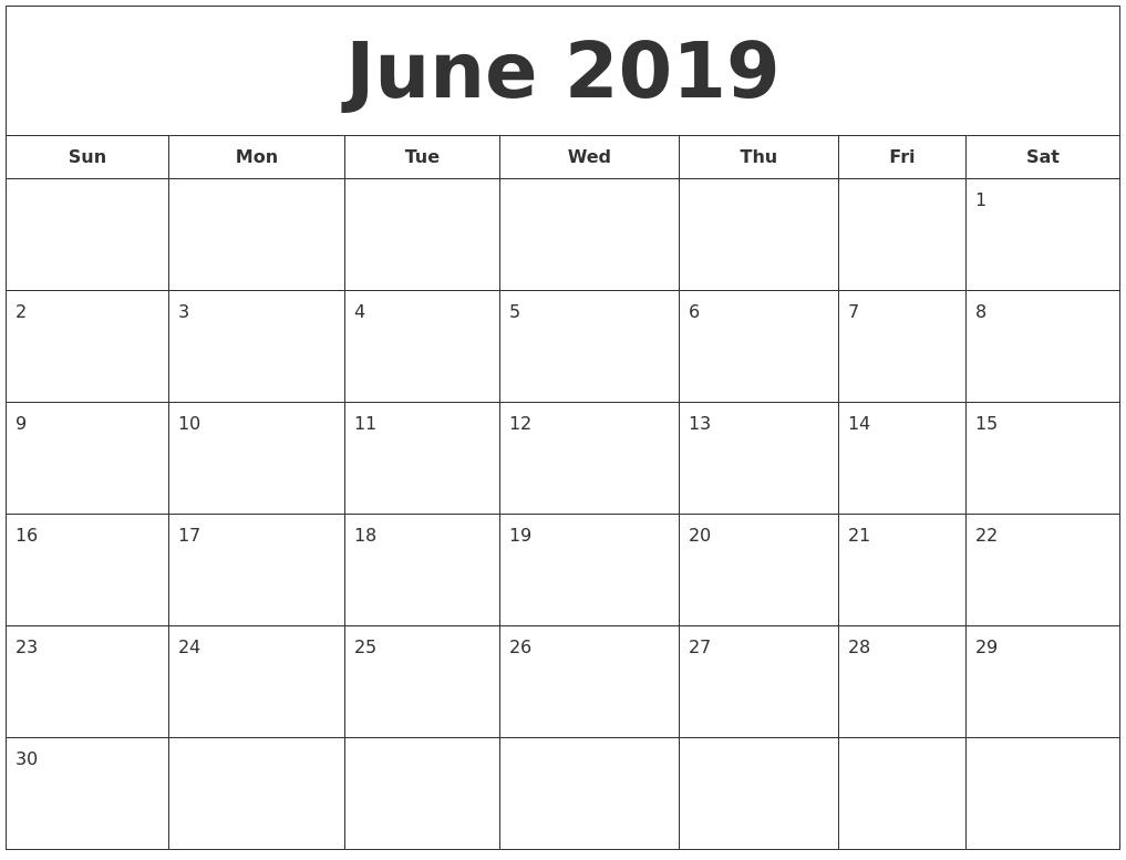 June 2019 Blank Calendar Landscape And Vertical Layout - Free_Printable Blank Calendar Landscape