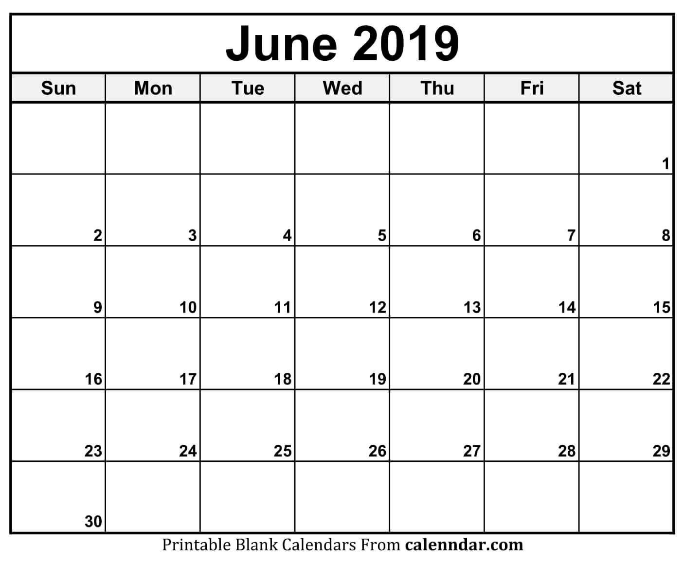 June 2019 Calendar Blank Template  </p>   </div>        <br>     <div class=