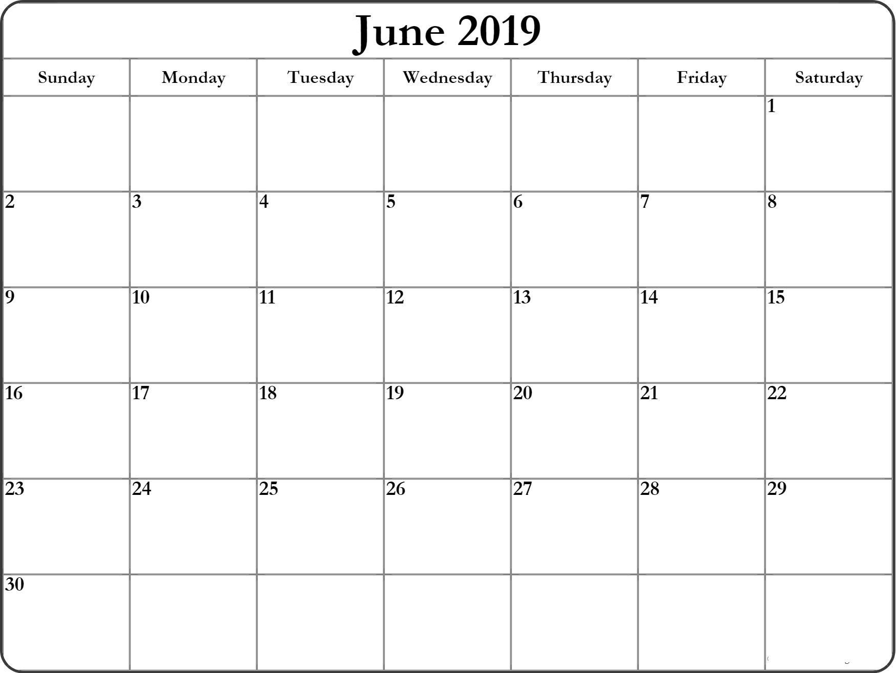 June 2019 Calendar Printable – Get Here Free June 2019 Calendar_Calendar For Printing June 2019