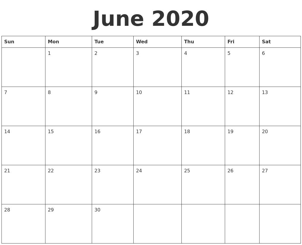 June 2020 Blank Calendar Template_Blank Calendar June 2020 Pdf