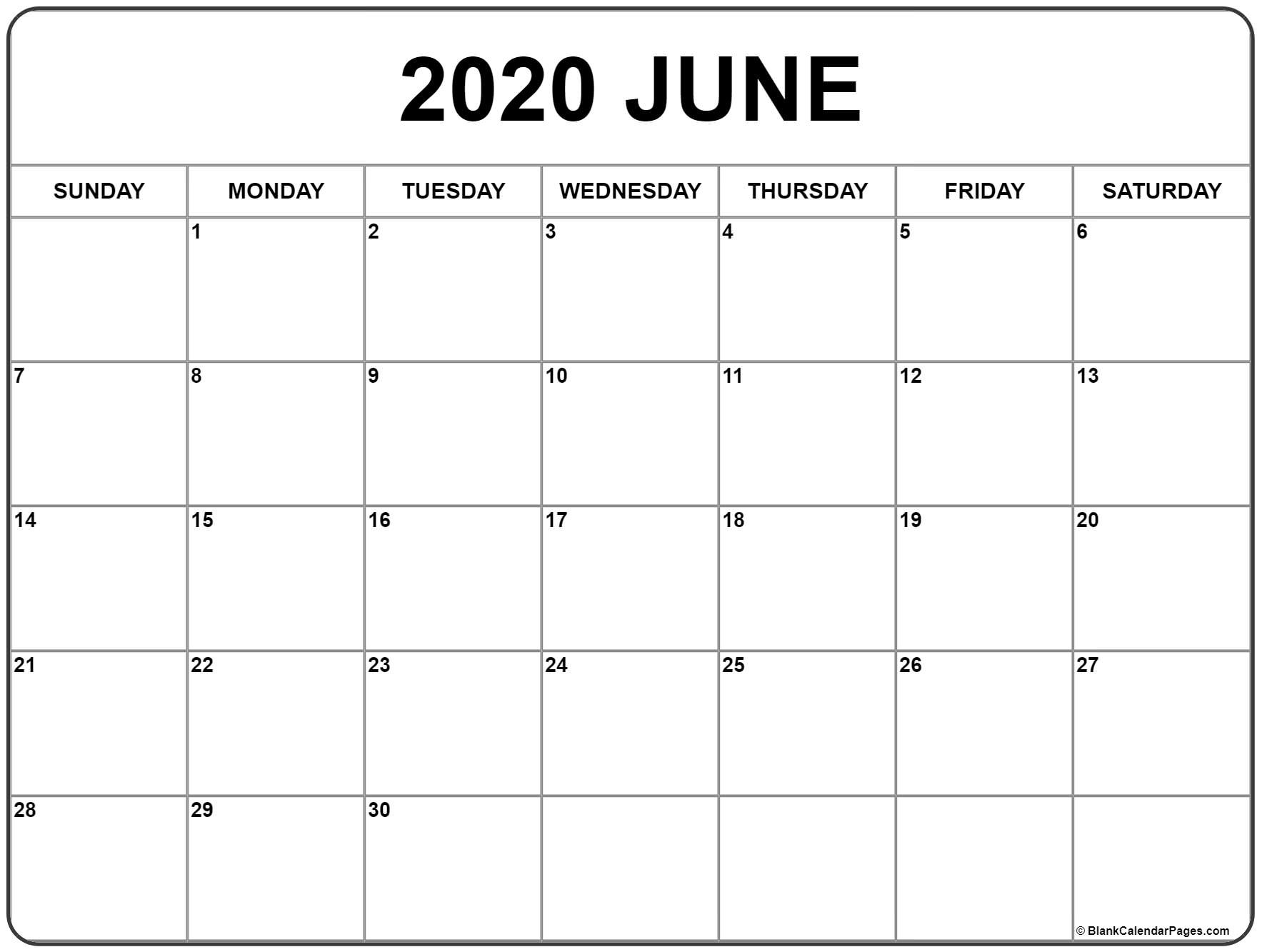 June 2020 Calendar | Free Printable Monthly Calendars_A Blank Calendar For June 2020