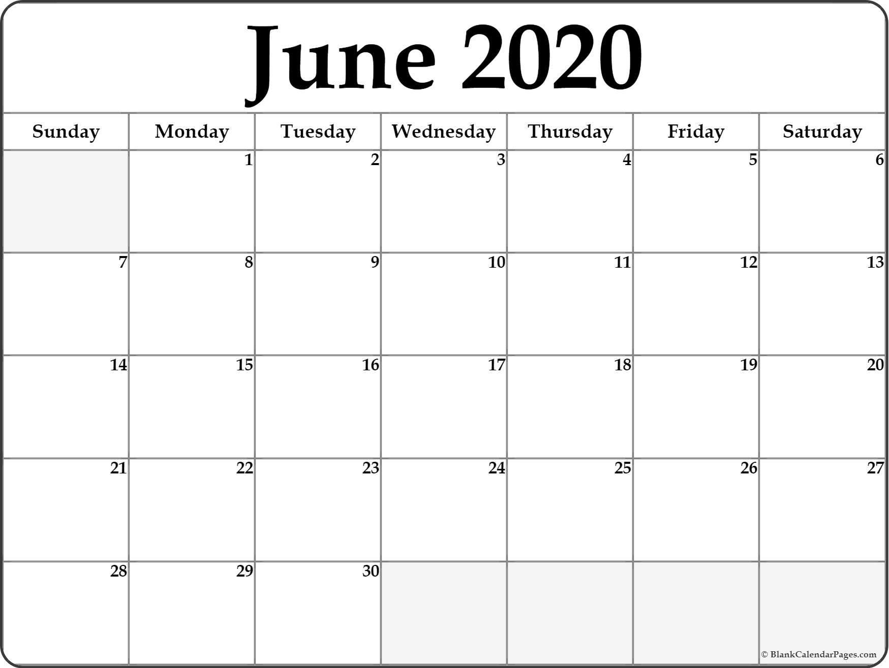 June 2020 Calendar  </p>   </div>        <br>     <div class=