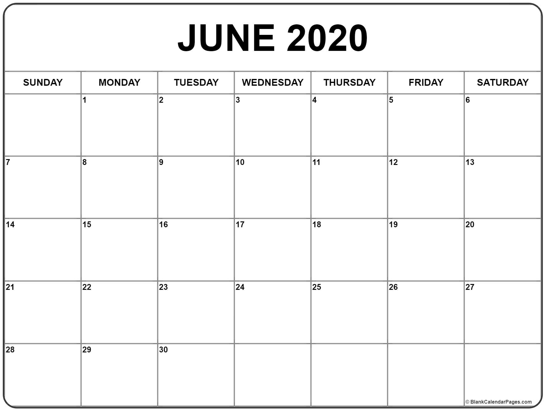 June 2020 Calendar | Free Printable Monthly Calendars_Blank Calendar Of June 2020