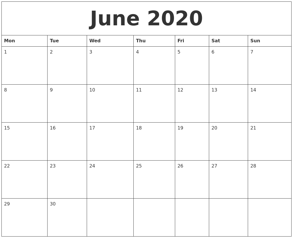 June 2020 Calendar Printable Free_Calendar Blank Templates Free