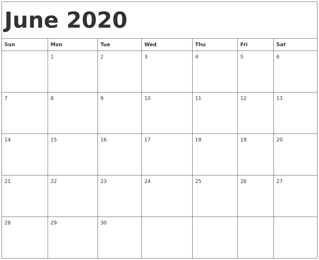 June 2020 Calendar Template_Blank Calendar Of June 2020