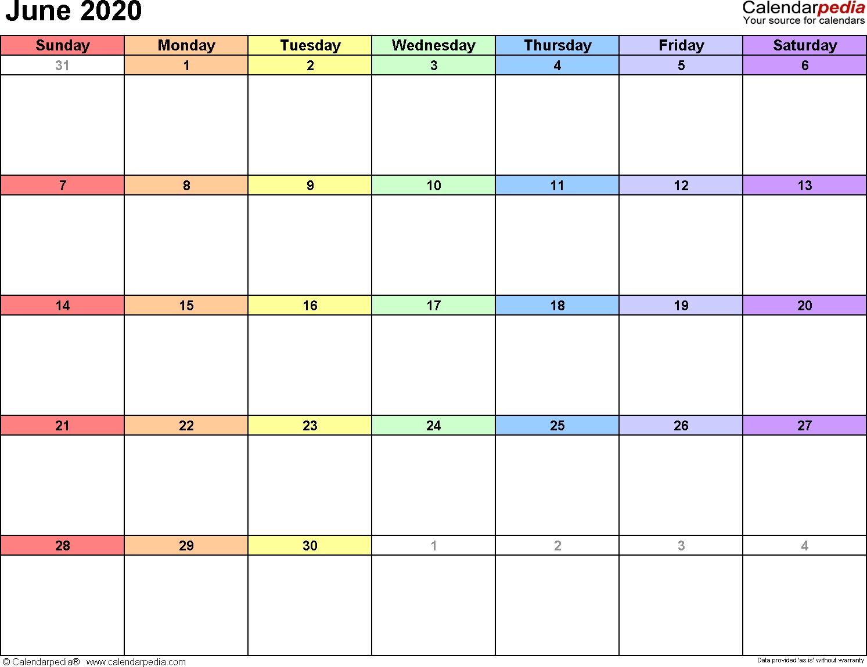 June 2020 Calendars For Word, Excel & Pdf_Blank Calendar Template June 2020