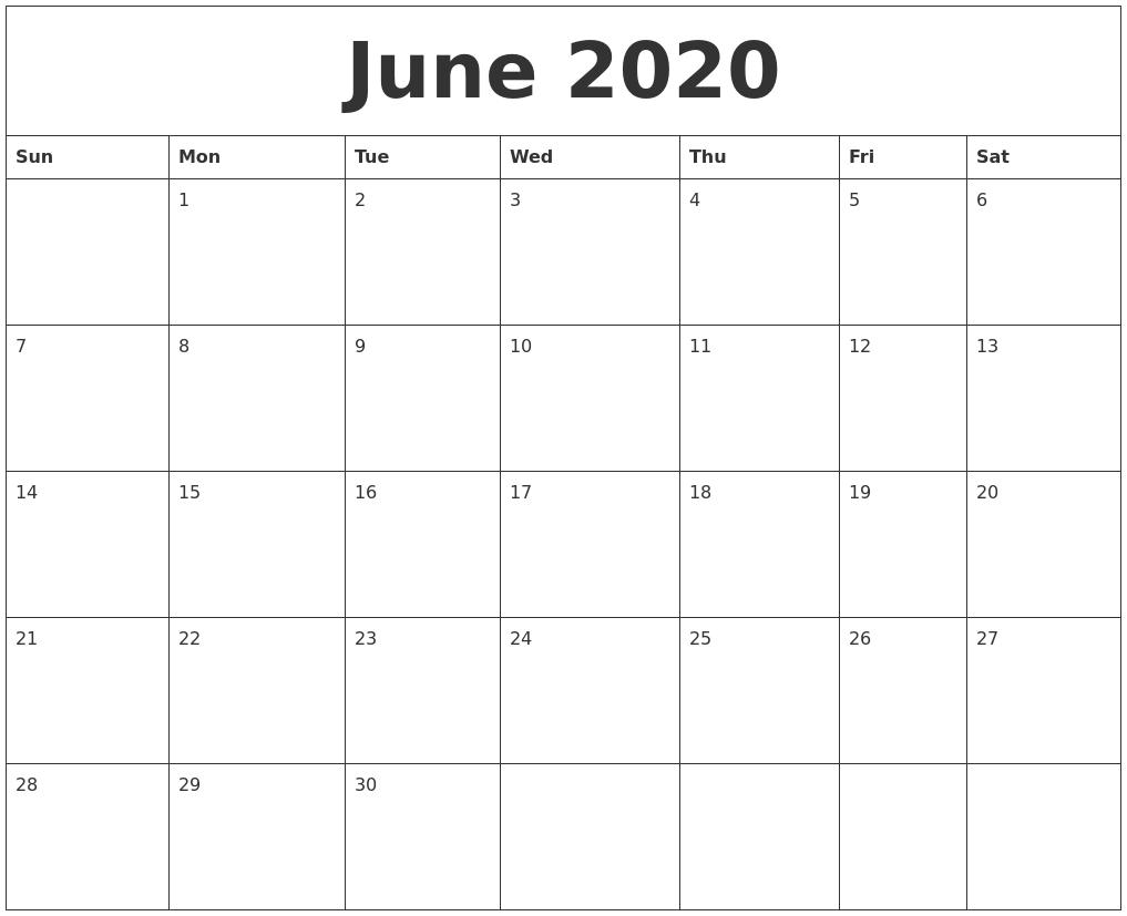 June 2020 Free Printable Calendar Templates_Blank Calendar Template June 2020