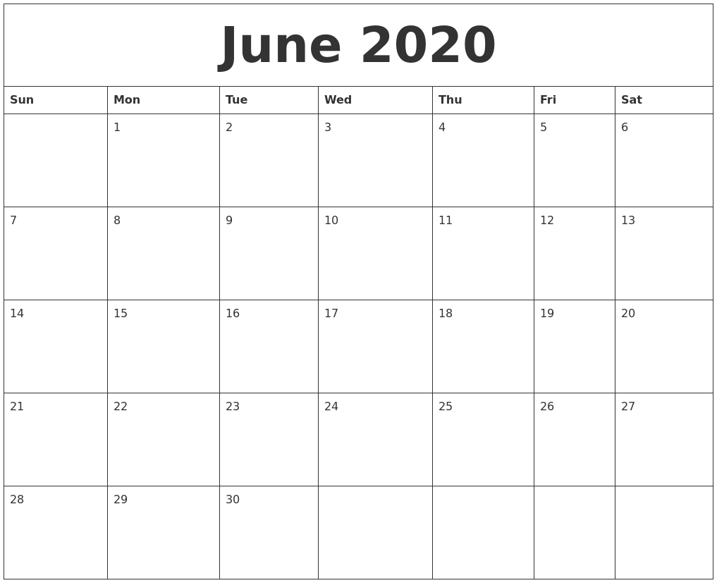 June 2020 Free Printable Calendar Templates_Calendar Blank June 2020