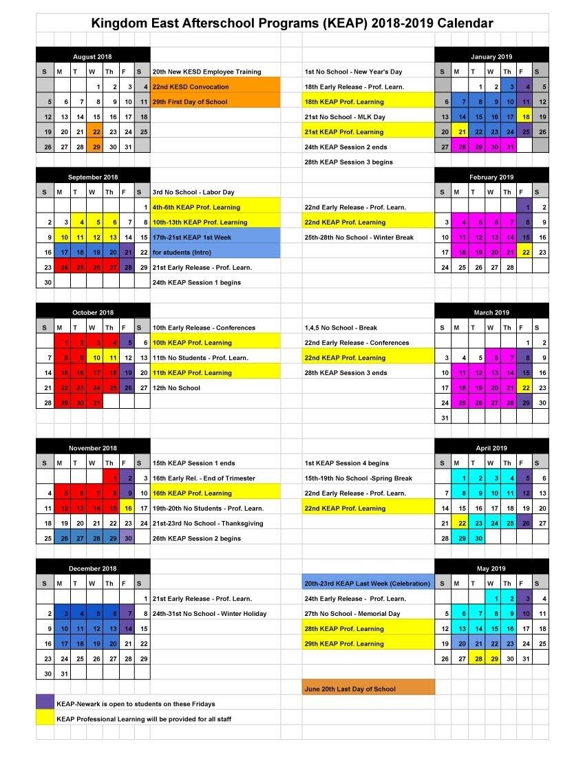 Keap 2018-2019 Calendar - Lyndon Town School_St J School Calendar