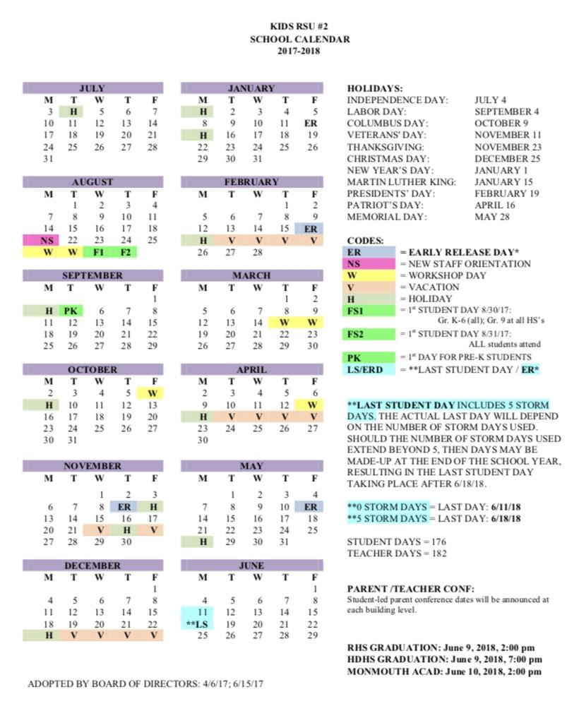 Kennebec Intra-District Schools Regional School Unit #2_Rsu 2 School Calendar