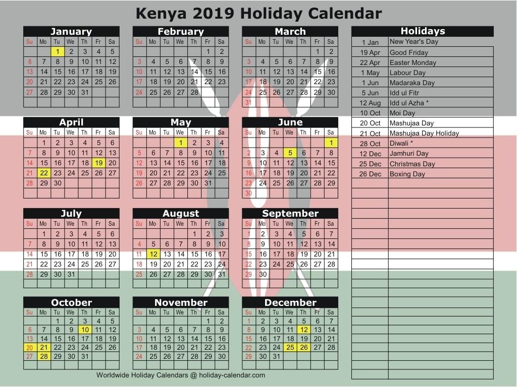 Kenya 2019 / 2020 Holiday Calendar_School Calendar Kenya 2020