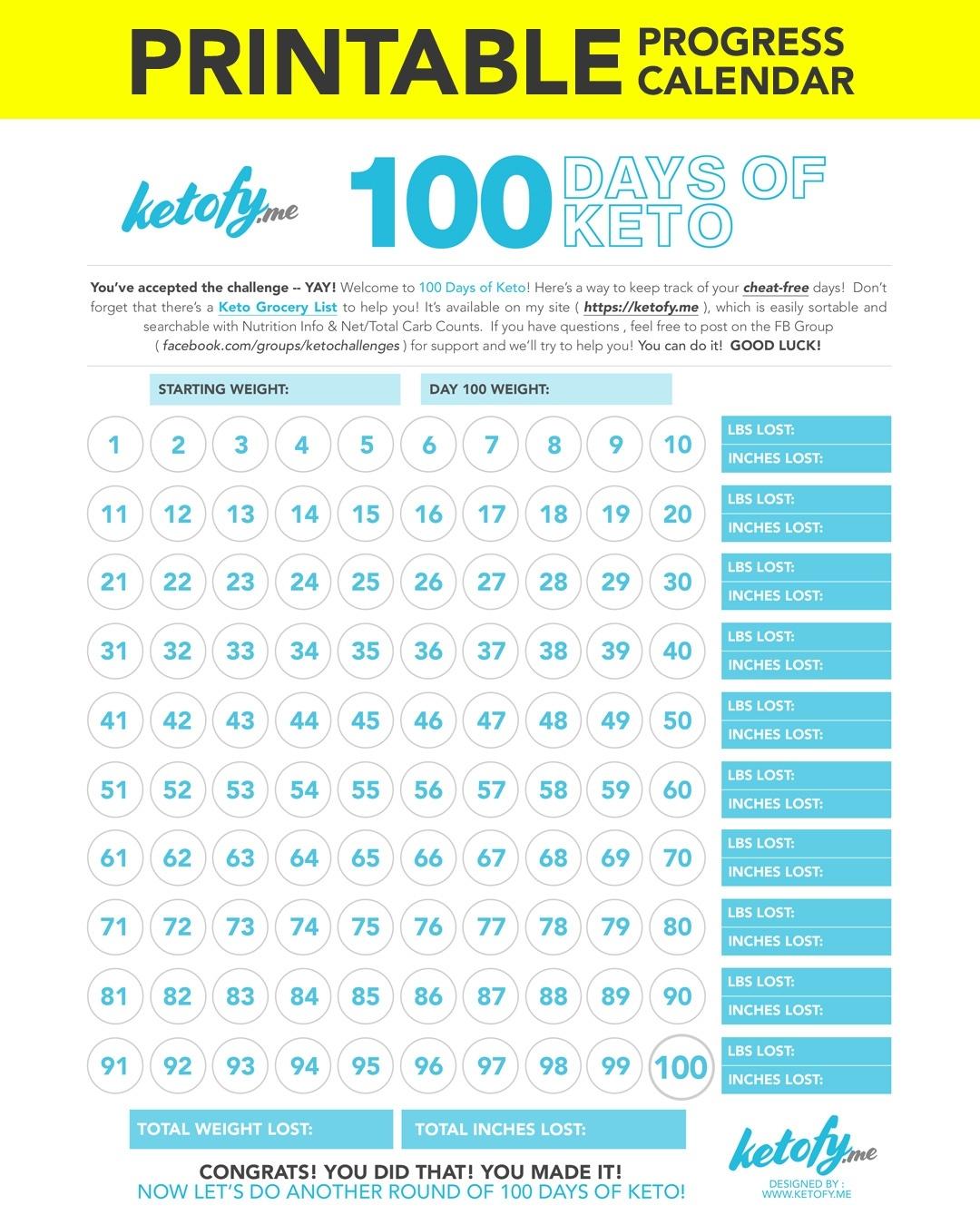 Keto ~ Fy Me | Cut Carbs, Not Flavor! • 100 Days Of Keto Challenge_Countdown Calendar Days Printable