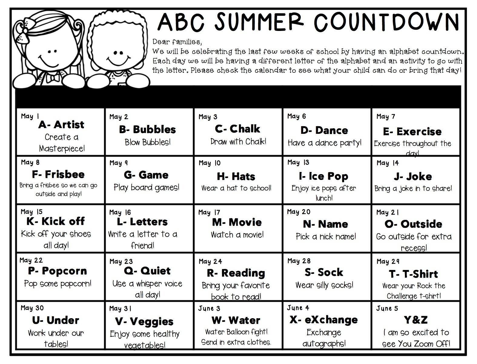 Kindergarten » Abc Summer Countdown- A Is For Artist_Countdown Calendar To End Of Year