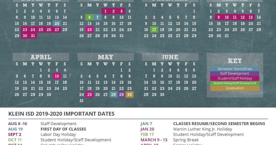 Klein Isd Announces Calendar For 2019-2020 School Year - Cain Live_School Calendar District 81