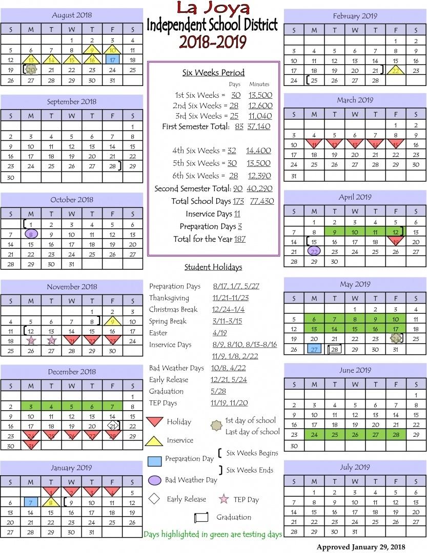 La Joya Isd - Ljisd Calendar 2018-2019_B Garza Middle School Calendar