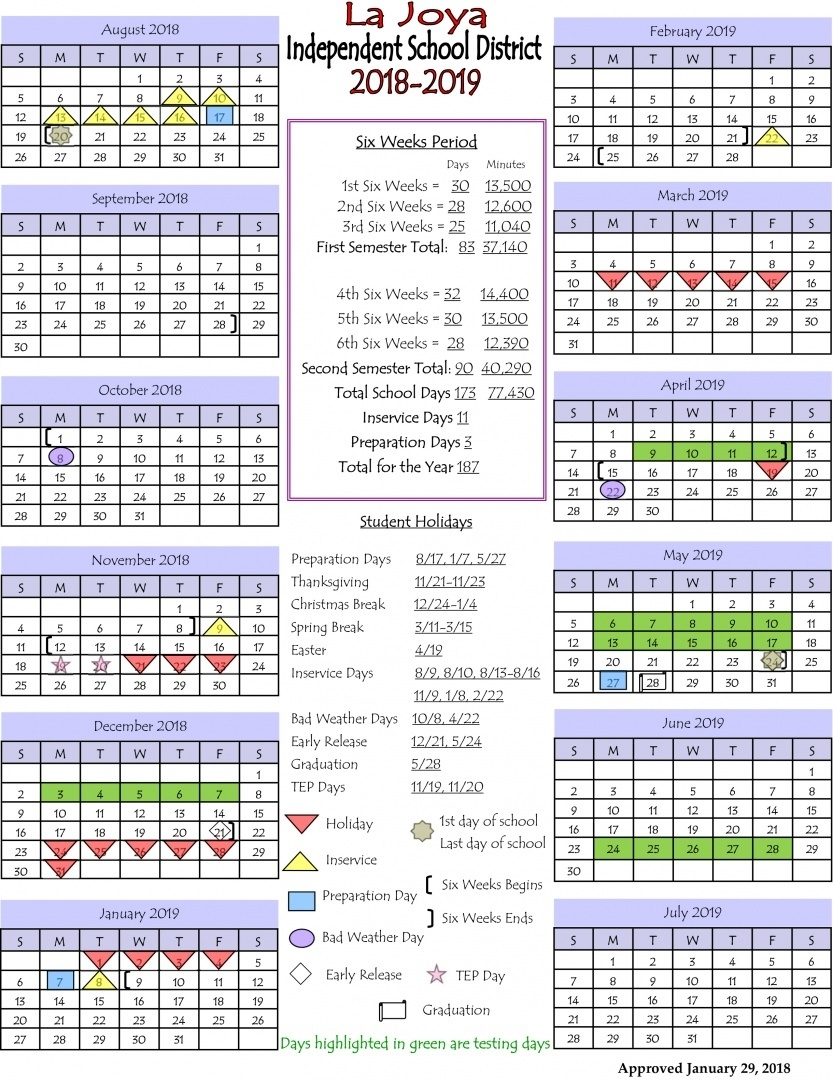 La Joya Isd - Ljisd Calendar 2018-2019_West G School Calendar