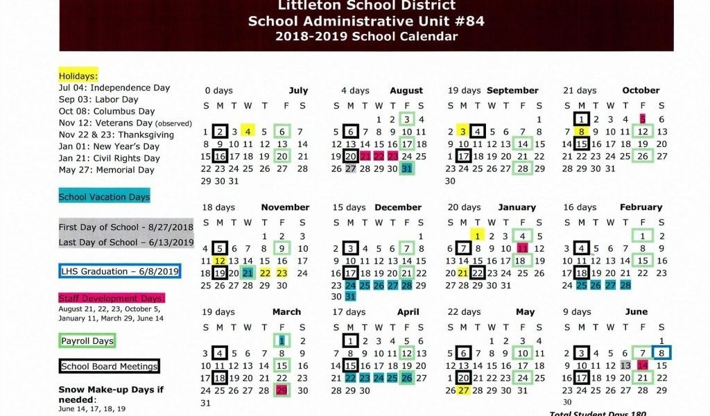 Les School Calendar – Sau 84 Littleton School District_Sau 6 School Calendar