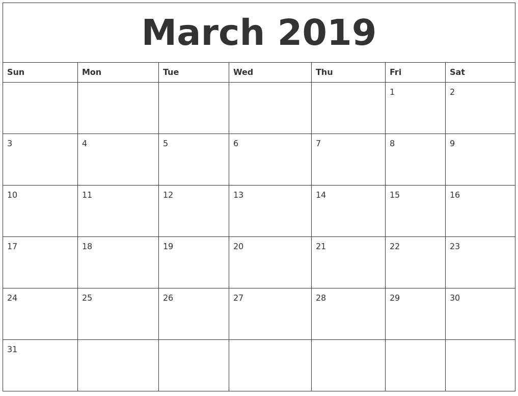 March 2019 Calendar For Printing_Calendar Printing From Pdf