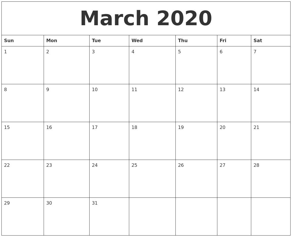 March 2020 Calendar Blank_Calendar Blank 2020 March