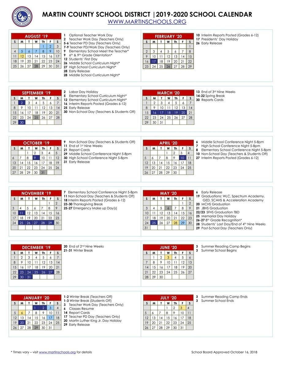 "Martin County School District On Twitter: ""📆looking Ahead📆: The_School Calendar Martin County"