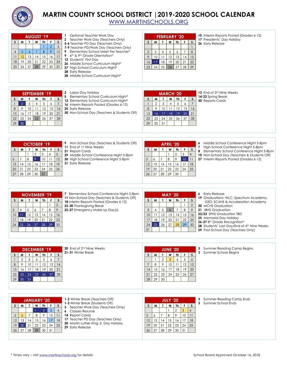 "Martin County School District On Twitter: ""📆looking Ahead📆: The_School Calendar Orange County"