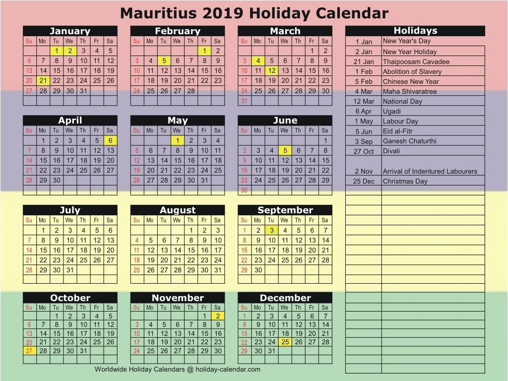Mauritius 2019 / 2020 Holiday Calendar_Calendar School 2020 Mauritius