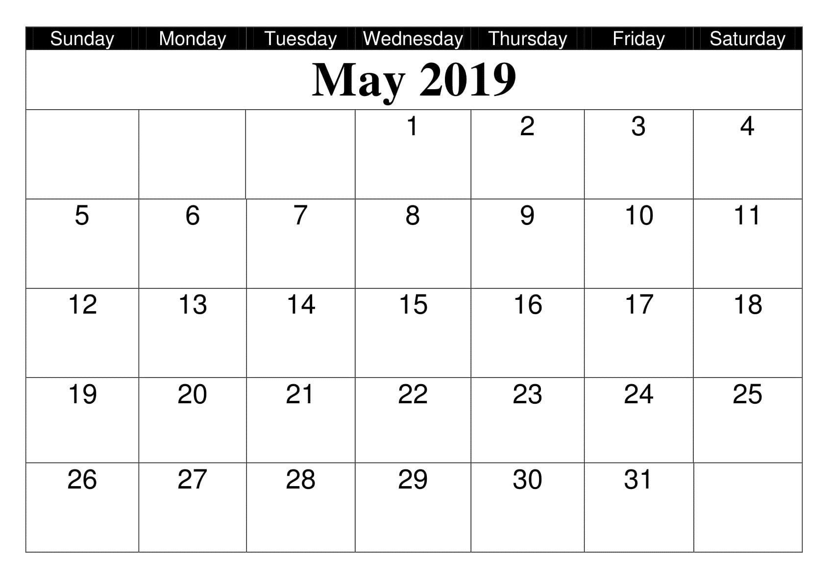 May 2019 Calendar Blank Printable | 200+ May 2019 Calendar Template_Google Calendar Gone Blank