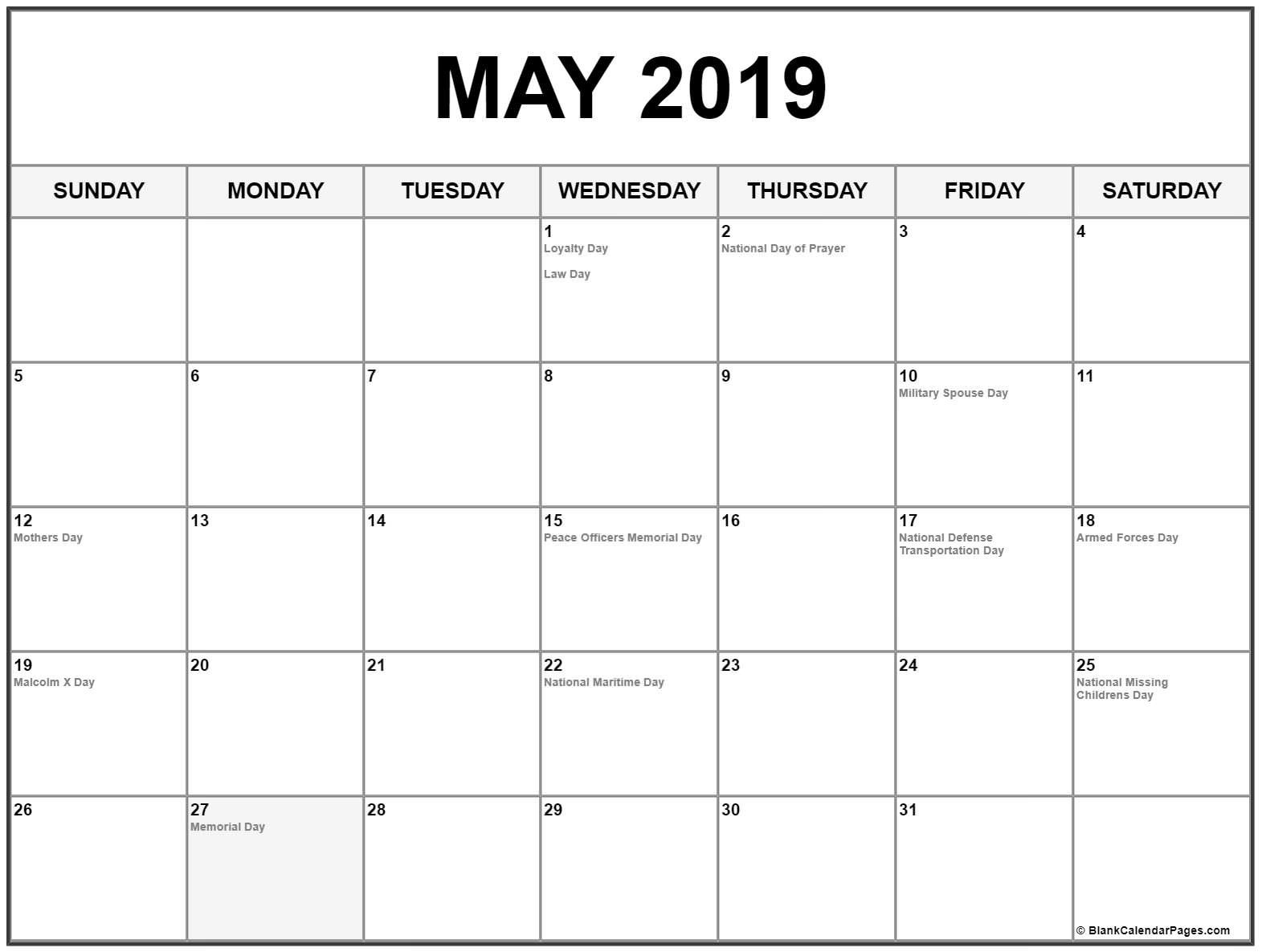 May 2019 Calendar Us Holidays | Printable Monthly Calendar Templates_Blank Calendar With Us Holidays