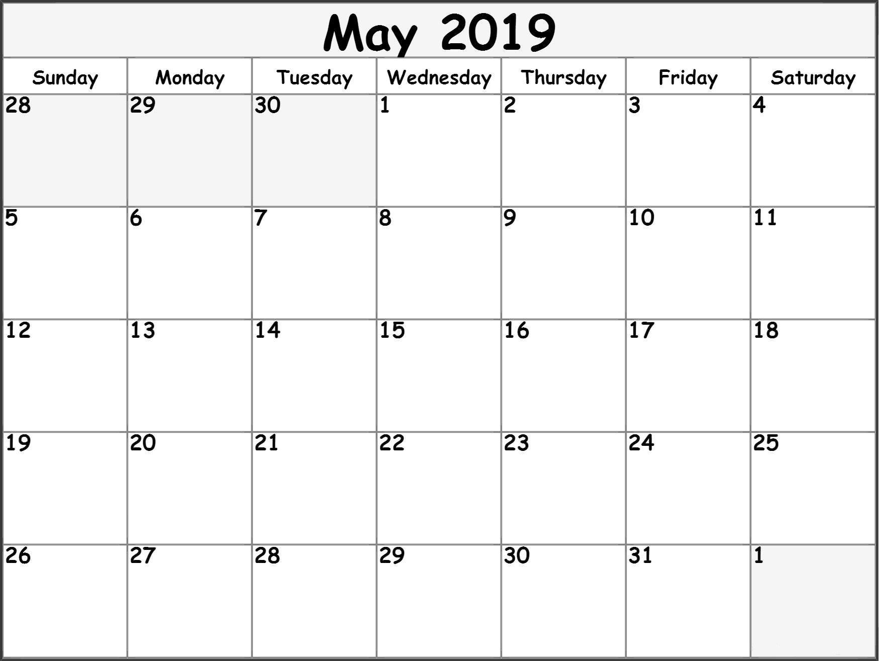 May 2019 Printable Calendar Templates - Free Blank, Pdf, Holidays_Calendar Blank Templates Free