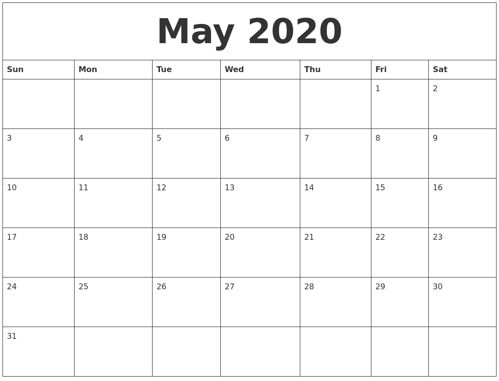May 2020 Blank Monthly Calendar Pdf_Monthly Calendar Blank 2020