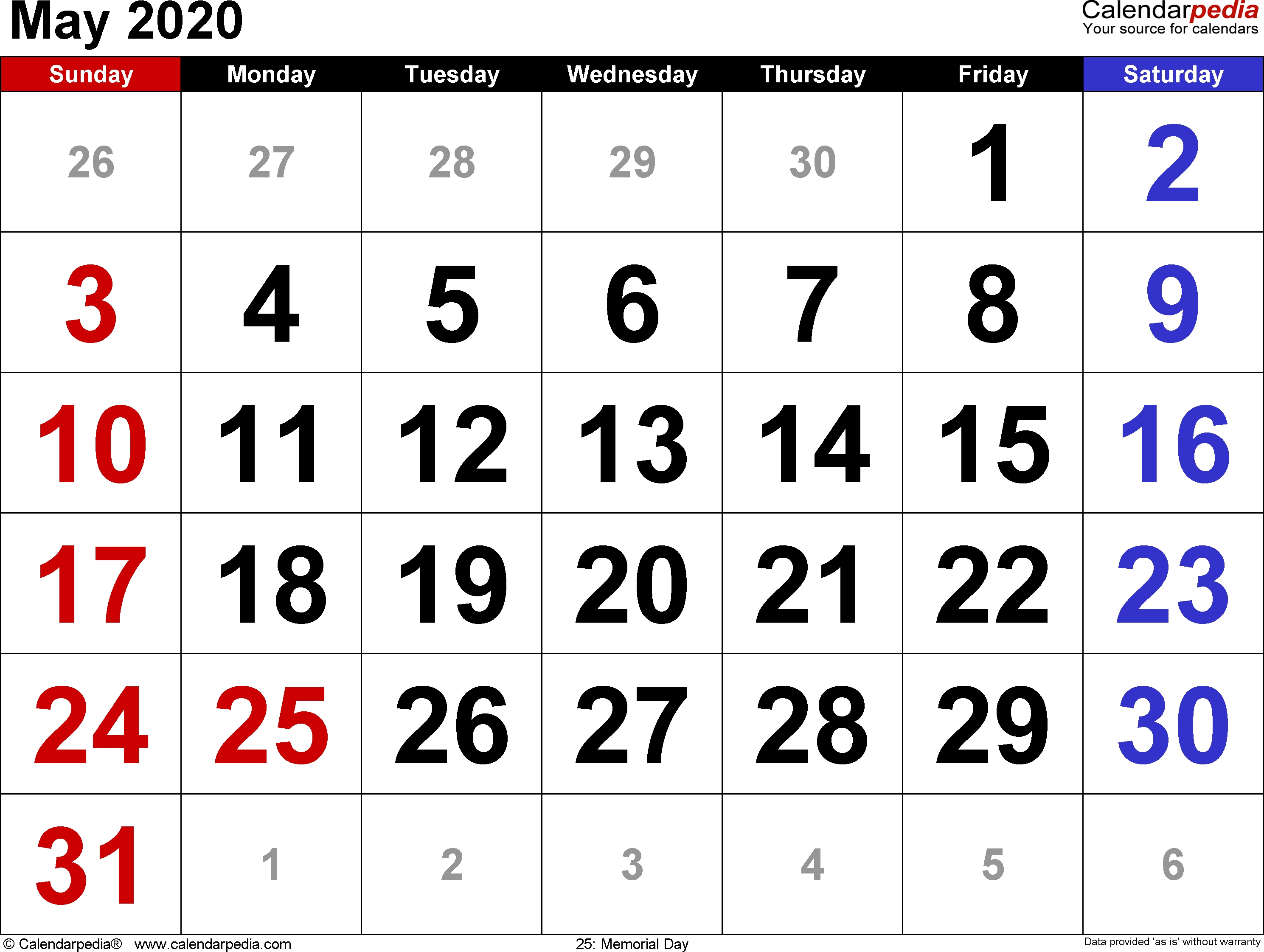 May 2020 Calendars For Word, Excel & Pdf_Blank Calendar May 2020 Pdf