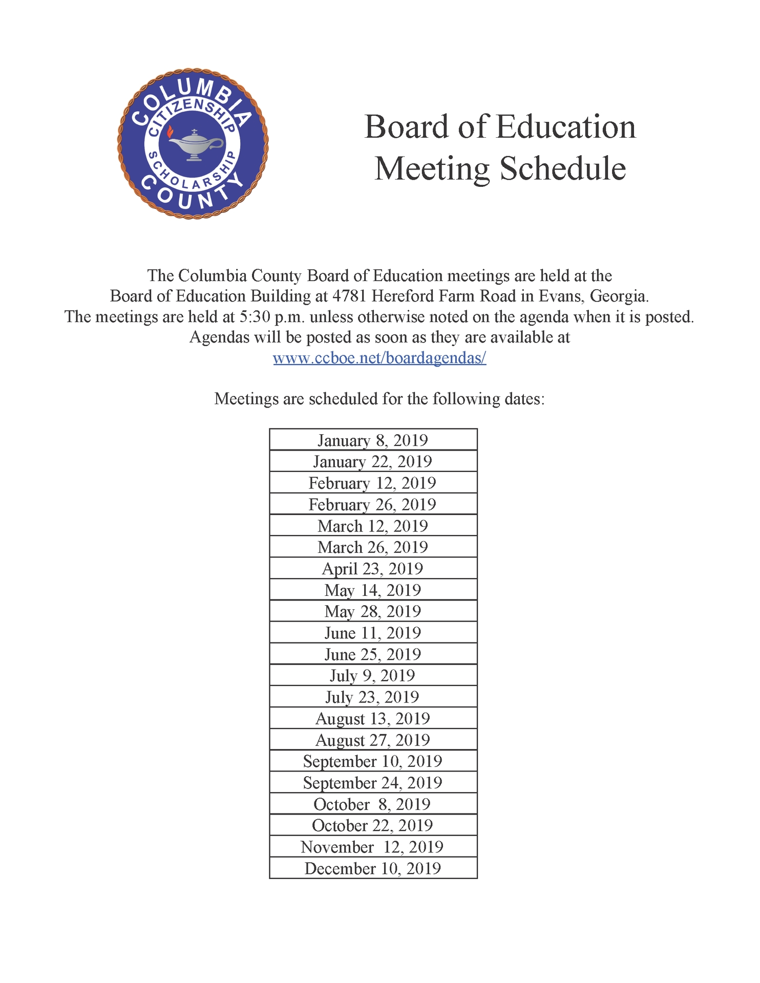 Meetings Schedule – Board Of Education – Columbia County Schools_School Calendar Columbia County Ga
