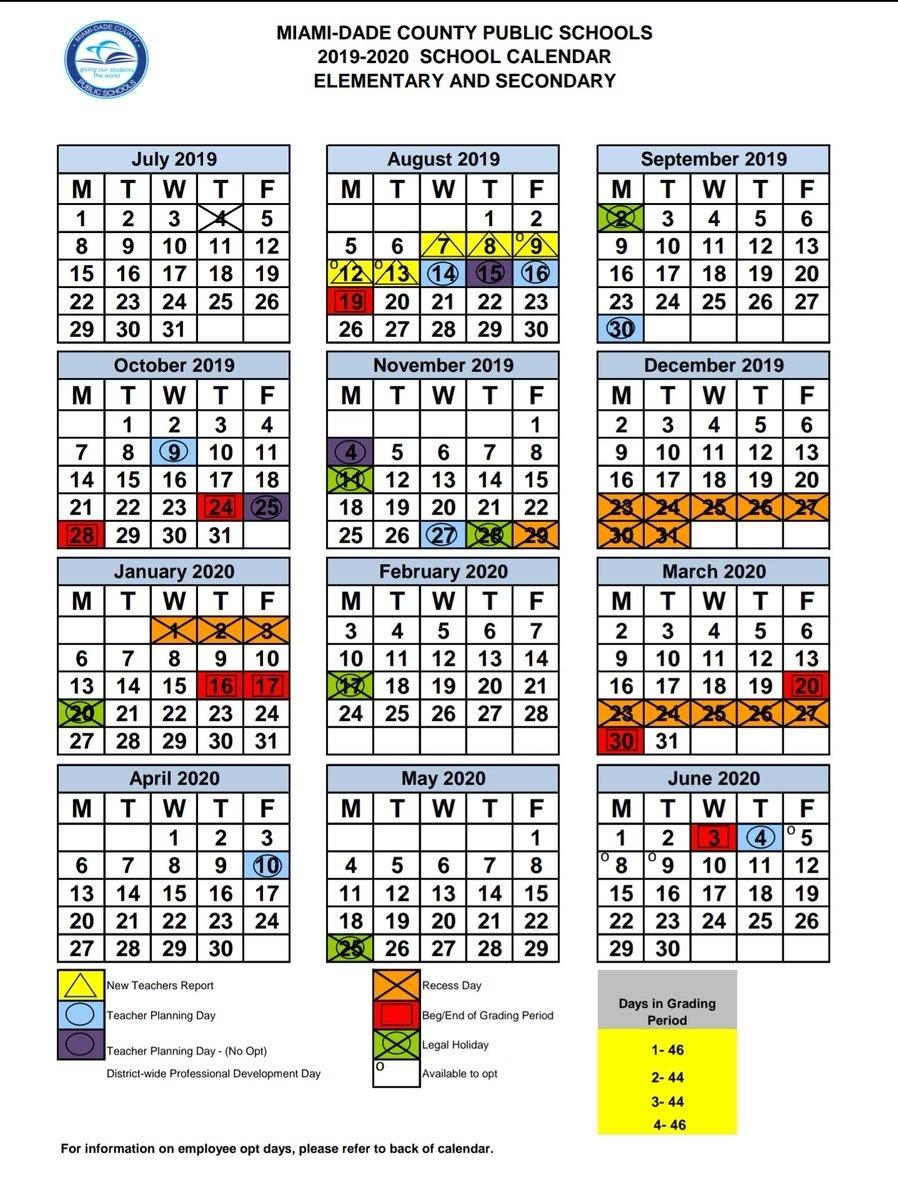"Miami-Dade Schools On Twitter: ""miami-Dade County School Board_Calendar School Dade 2020"