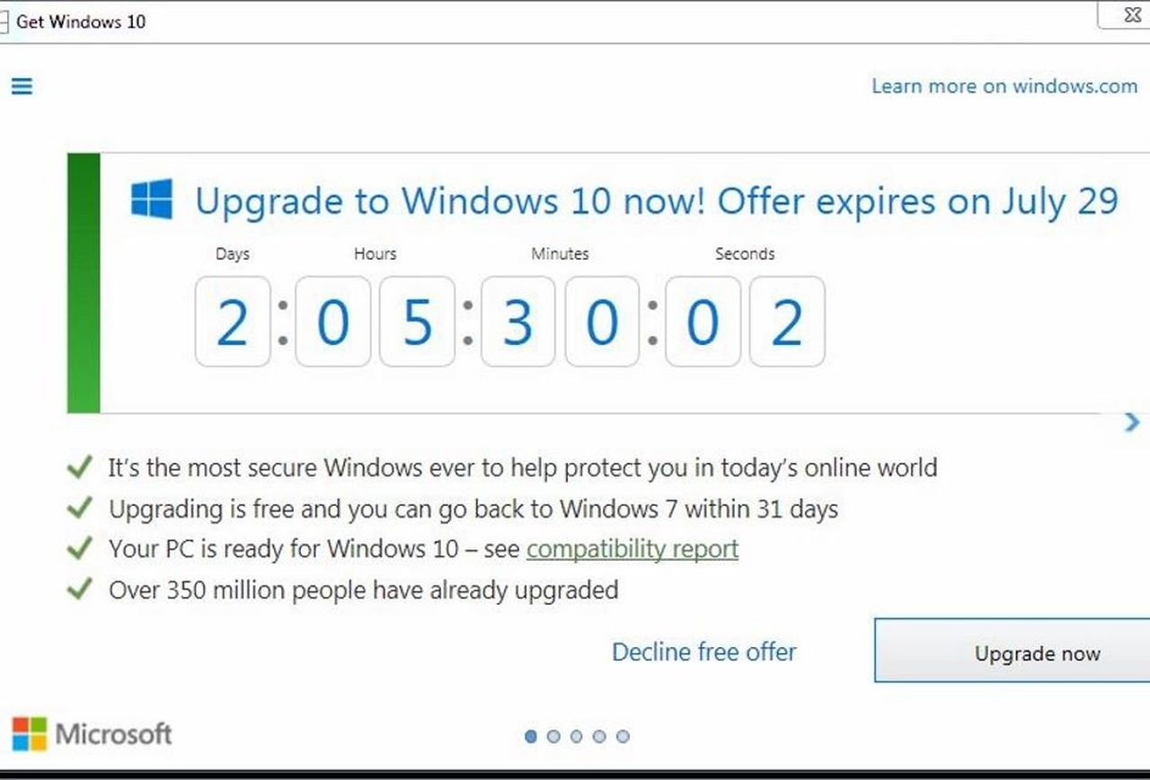 Microsoft Adds Windows 10 Countdown Timer: Free Upgrades End On Friday_Countdown Calendar Desktop Gadget