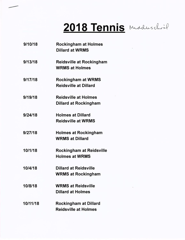 Middle School Tennis | Middle School | | Rockingham County Tennis_School Calendar Rockingham County Nc