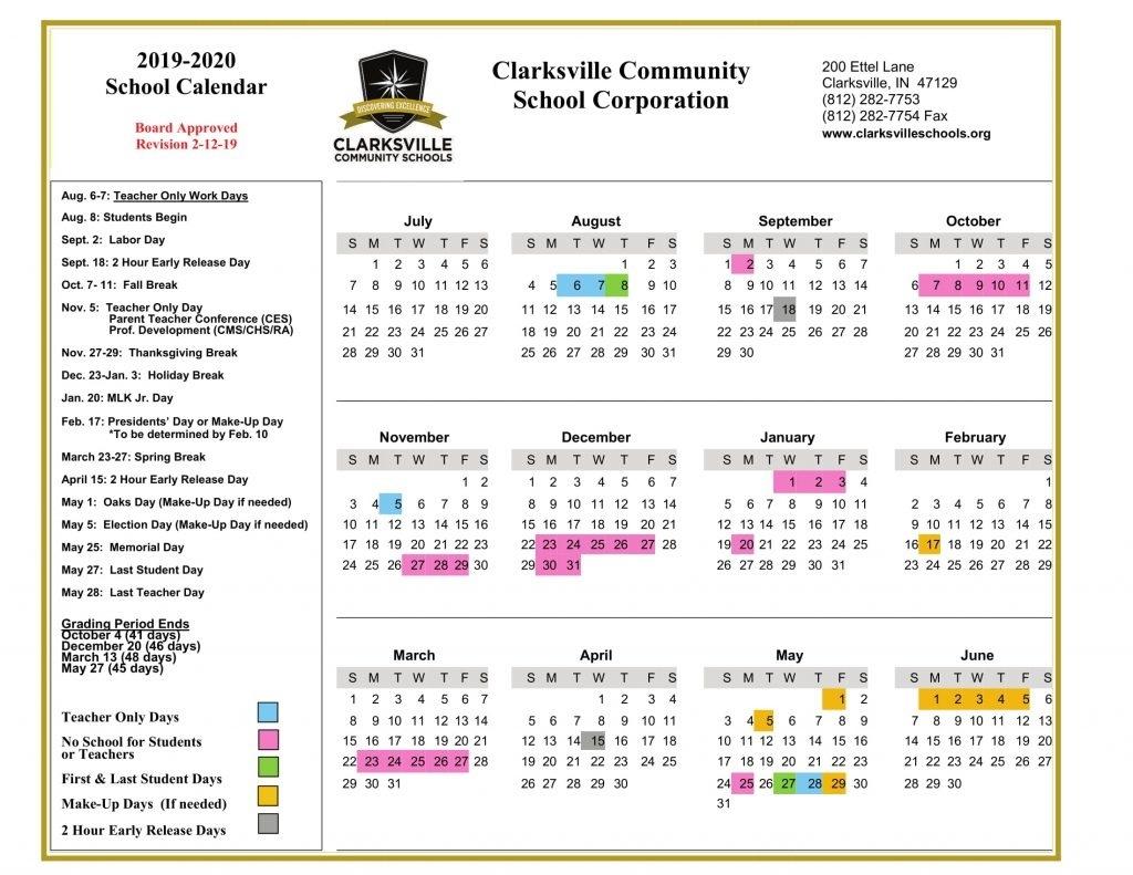 Minor Changes To 2018/19 And 2019/20 School Calendars | Clarksville_7 Oaks School Calendar