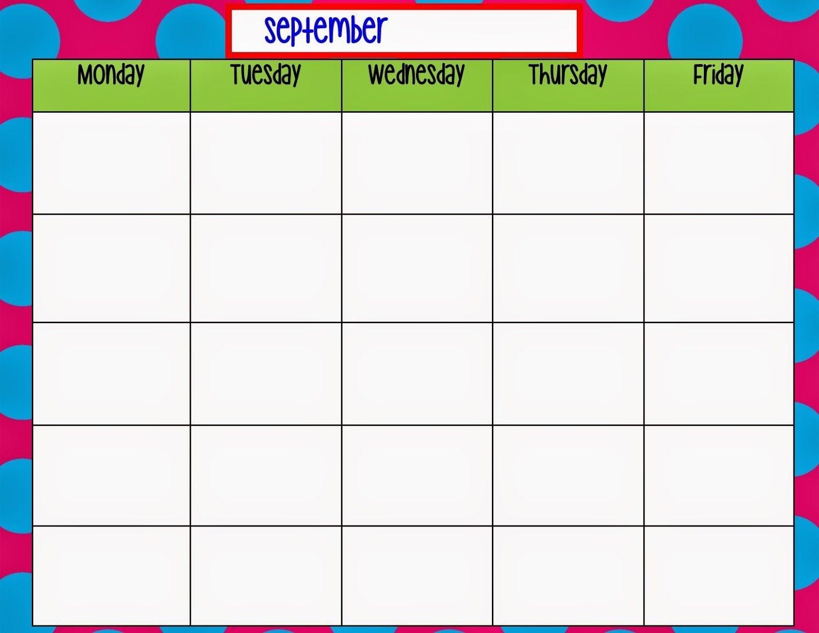 Monday Through Friday Calendar Template  </p>   </div>        <br>     <div class=