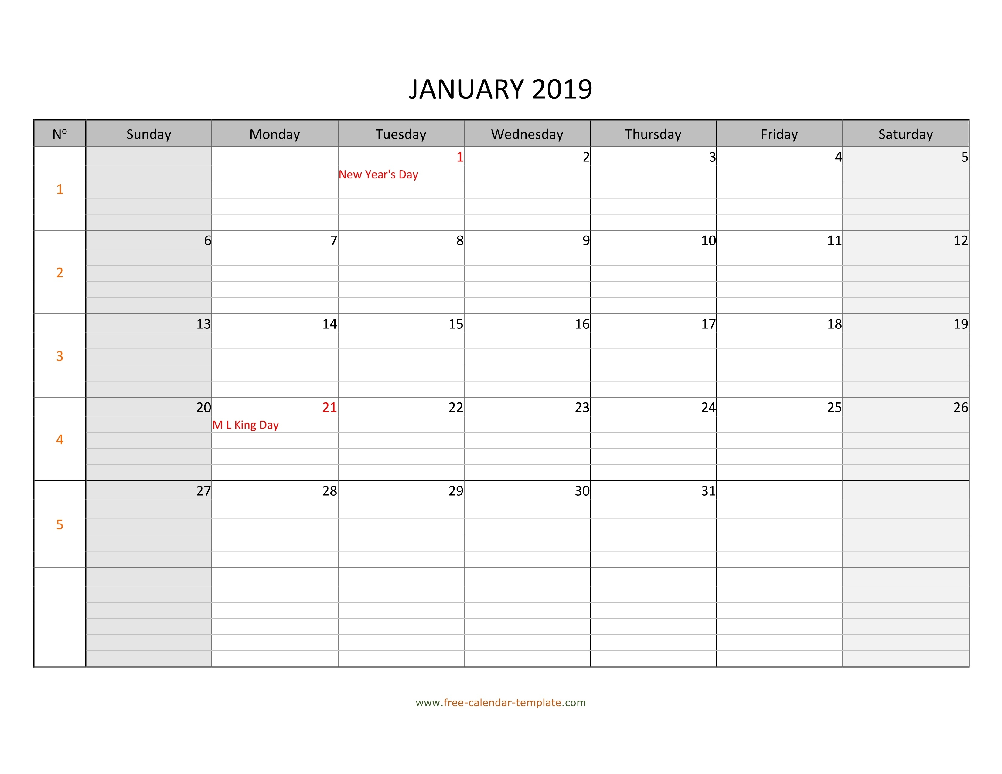 Monthly 2019 Calendar Free Printable With Grid Lines Designed_Large Blank Calendar Grid