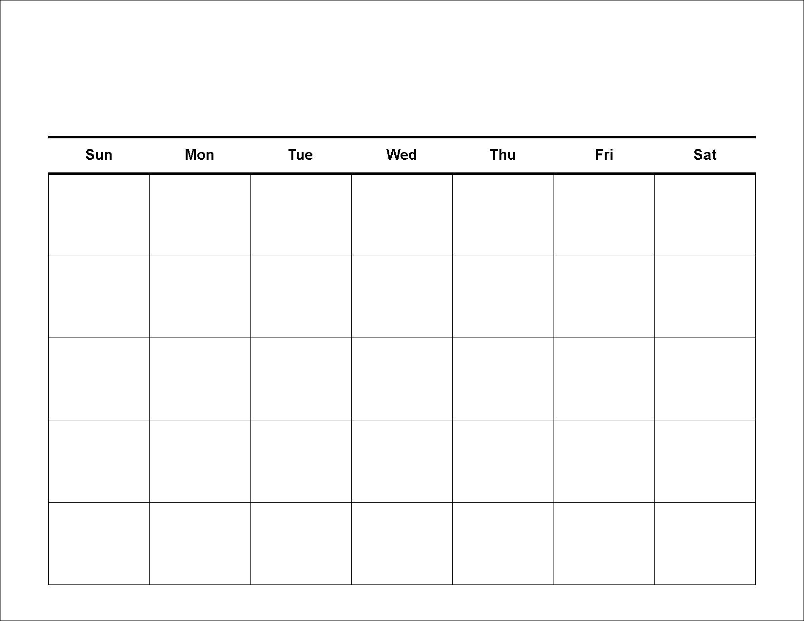 Monthly Calendar To Print Image For 5 Week Calendar Template - Free_5 Week Blank Calendar Template