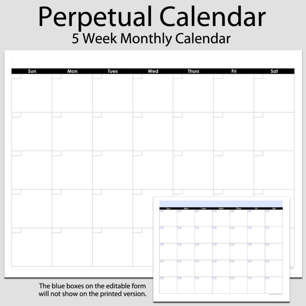 Monthly Perpetual Calendar In Landscape – 8 1/2″ X 11″ | Legacy_8 X 11 Blank Calendar Template