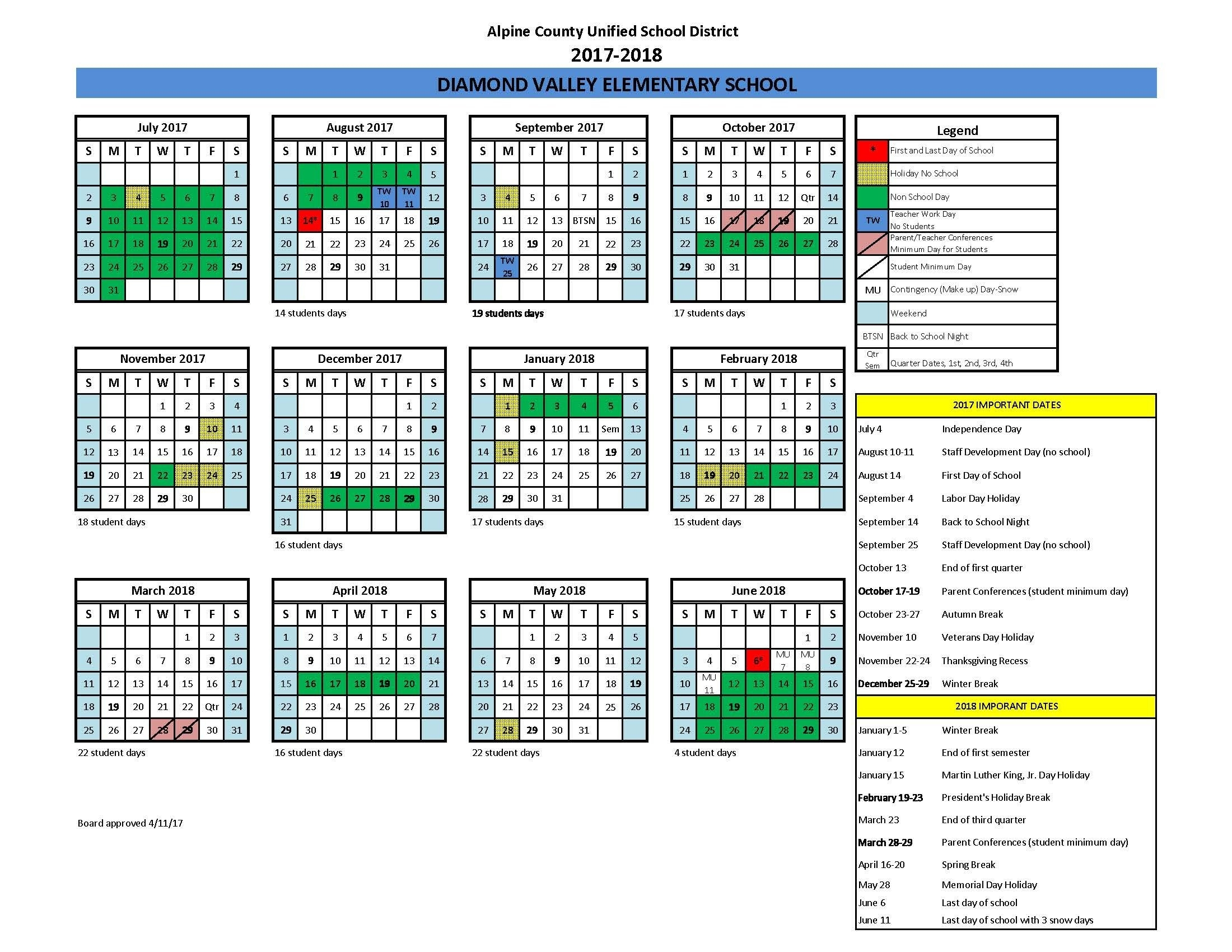 Morgan Hill School District Calendar 2018 2019 To Download Or Print_School Calendar Hernando County