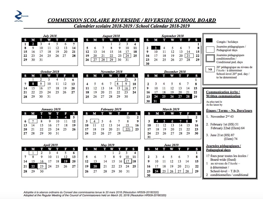 Mrs. Anna Romanini's Kindergarten: School Board Calendar_Calendar Riverside School Board